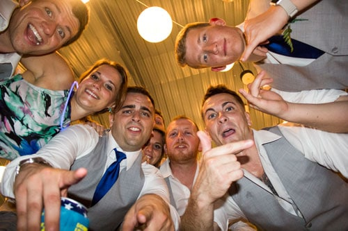 Fun Group Photo at Wedding Reception